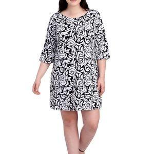 MSK•Black & white rose print dress•sz. M•NWT 📸